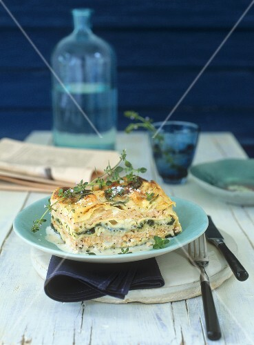 Salmon lasagne with spinach and Parmesan