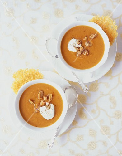 Two cups of sweet potato & chestnut soup, Parmesan wafers