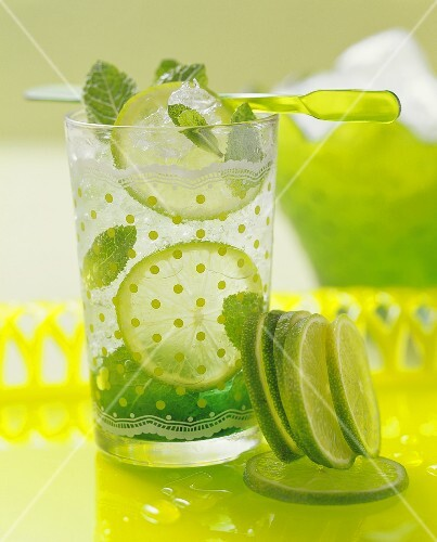 A glass of mint and lime drink
