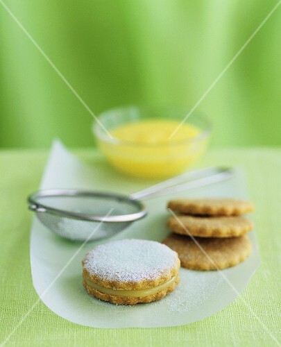 Lime curd shortbreads with icing sugar