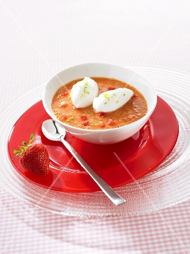 Chilled strawberry and mango soup with egg white gnocchi