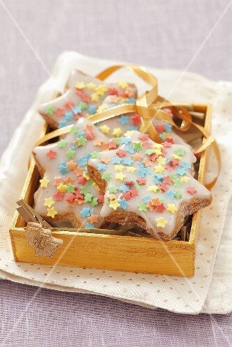 Nut biscuits with sugar stars for Christmas