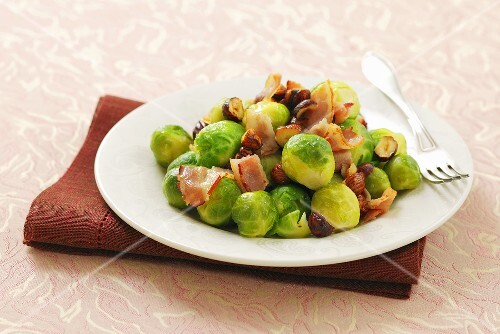 Brussels sprouts with bacon and hazelnuts