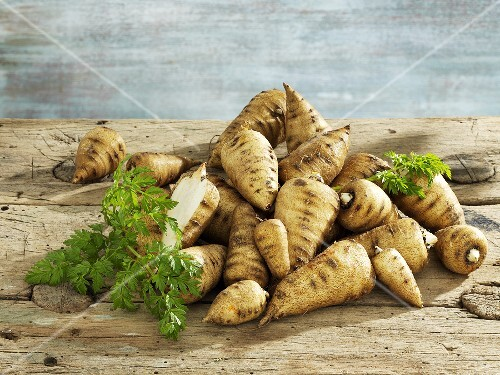 Parsnip chervil on a wooden board