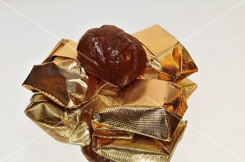 Marron glace, some wrapped in gold foil