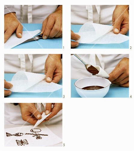 Making a piping bag and piping chocolate decorations