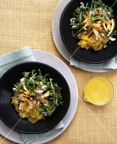 Spaghetti squash salad with rocket and roast chicken breast