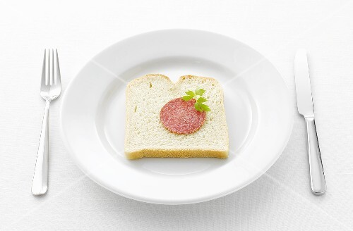Salami and lovage on slice of white bread on white plate
