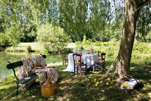 Gedeckter Tisch Am Teich Im Romantischen Garten ? Stockfood Ein Romantischer Garten