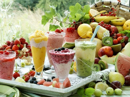 Five different fruit smoothies