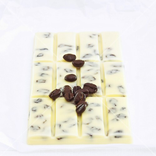 White chocolate with coffee beans
