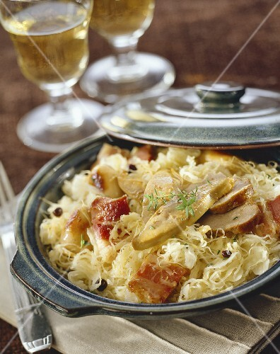 Sauerkraut with bacon and goose liver