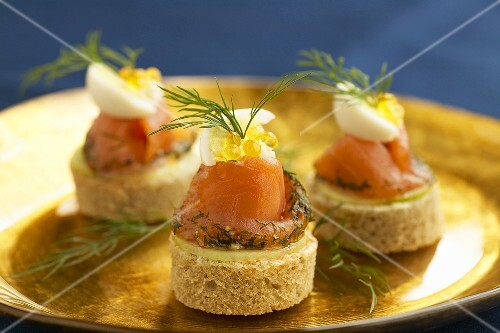 Canapes mit Graved Lachs