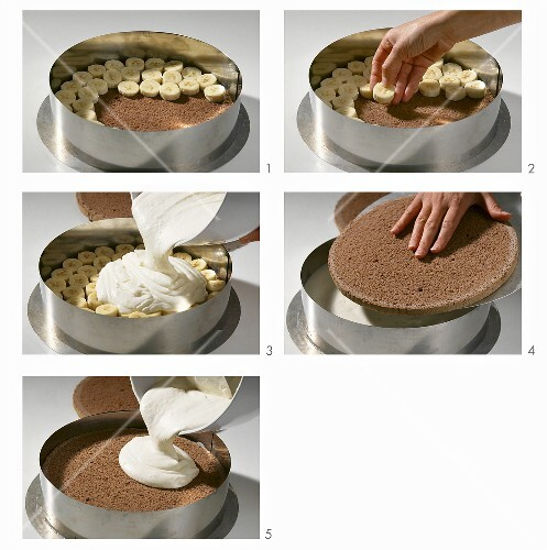 schoko bananen torte mit joghurtcreme zubereiten bild. Black Bedroom Furniture Sets. Home Design Ideas