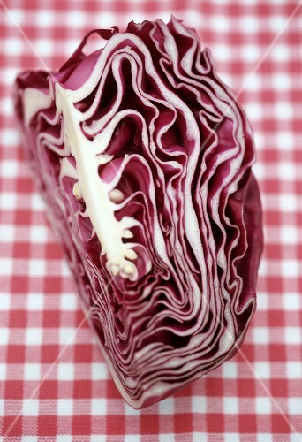 Red cabbage on a checked cloth