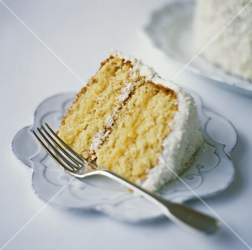 A slice of coconut cake