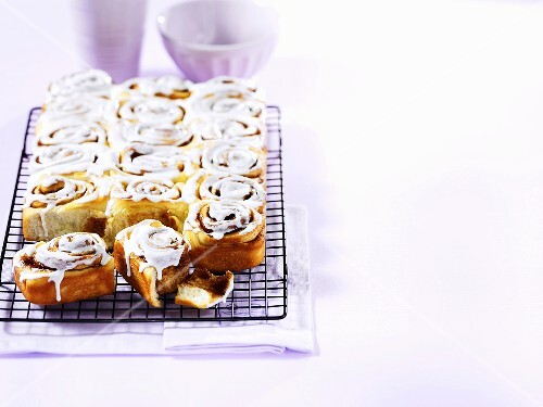 Chelsea buns on a wire rack