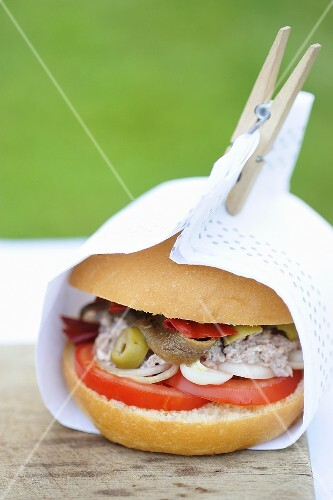 Pan Bagnat (tuna cream, anchovy and olive sandwich, Nice)