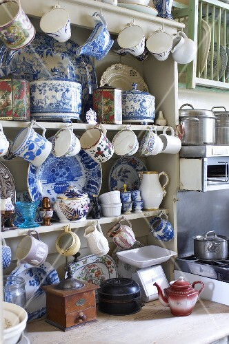 A kitchen dresser with old fashioned crockery
