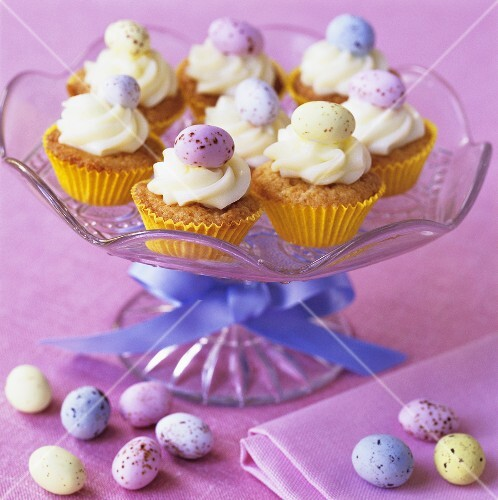 Cupcakes decorated with small Easter eggs