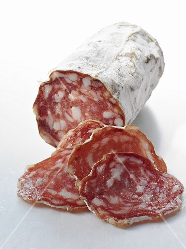 Salami, partly sliced