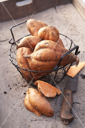 Sweet potatoes in a wire basket