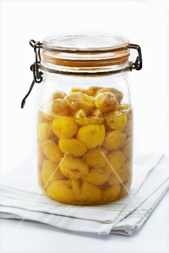 Mirabelle compote in preserving jar