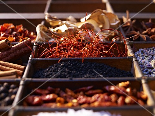 Chilli threads and other spices in a seedling tray