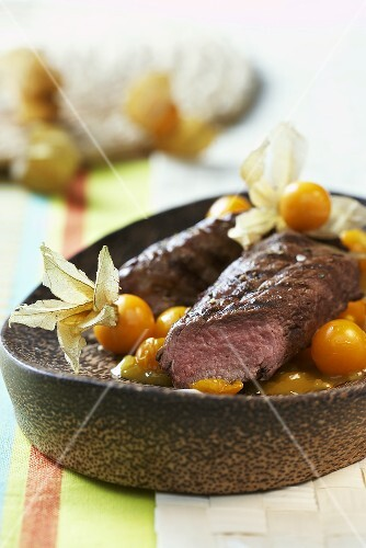 Ostrich fillets with physalis