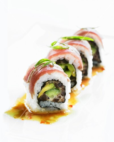 Inside-out rolls with avocado and tuna filling