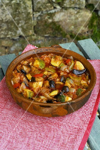 Ratatouille in a terracotta dish