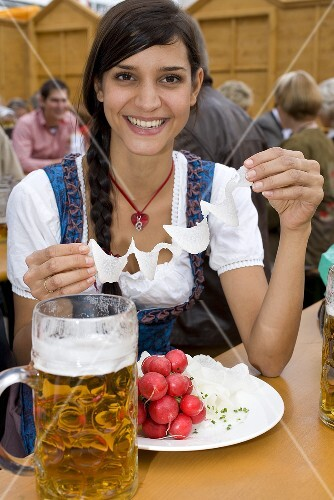 Woman with radishes &amp; a litre of beer (Oktoberfest, Munich)