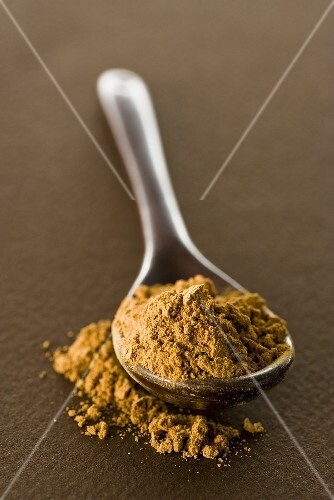 Guarana powder on spoon