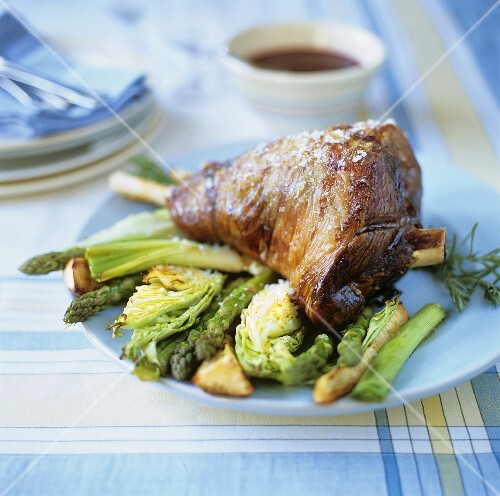 Leg of lamb on vegetables