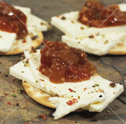 Wensleydale cheese with tomato & onion chutney on crackers