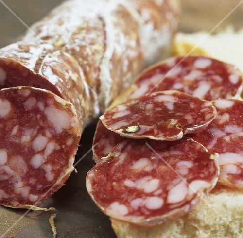 Bread with Italian Felino salami