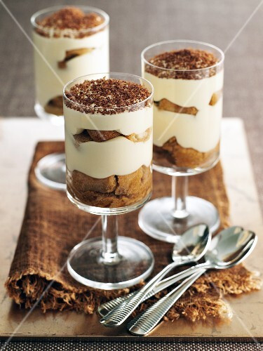 Tiramisu served in three glasses