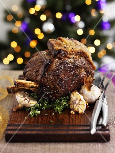 Roast beef with garlic for Christmas dinner