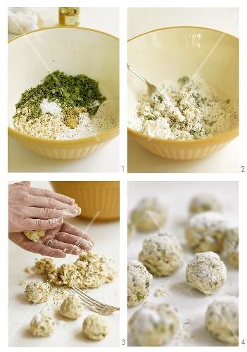 Herb dumplings being prepared