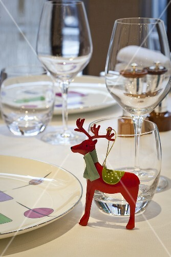 A table laid with Christmas decorations in a restaurant