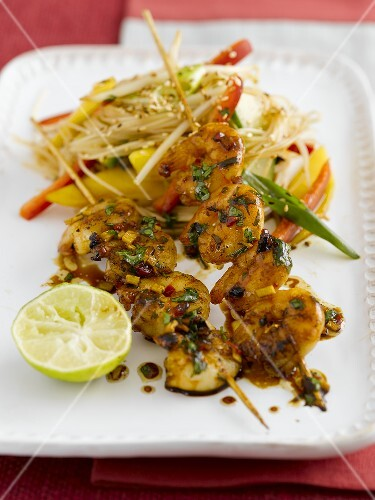 Giant prawn kebab with herbs