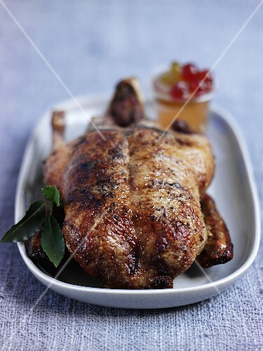 Anatra alla mostarda (roast duck with mustard fruits)