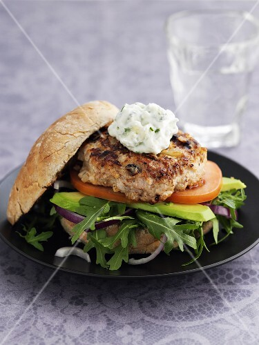 Chicken burger with avocado