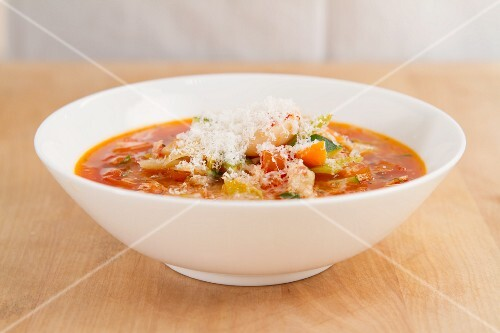 Minestrone (Italian vegetable soup with Parmesan)