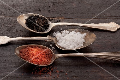 Three spoons of different types of salt