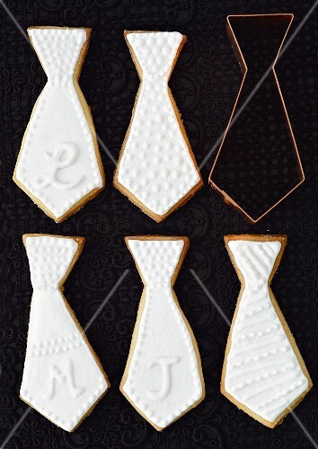 Shortbread biscuits (ties) with white icing