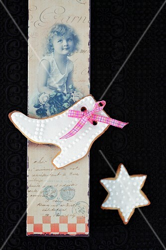 Shortbread biscuits with white icing sugar on a nostalgic postcard