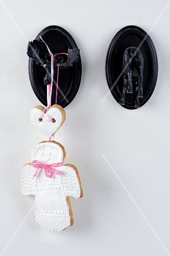 A shortbread angel on a moose hook