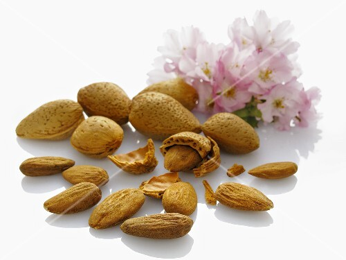 Almonds with and without shells and almond blossoms