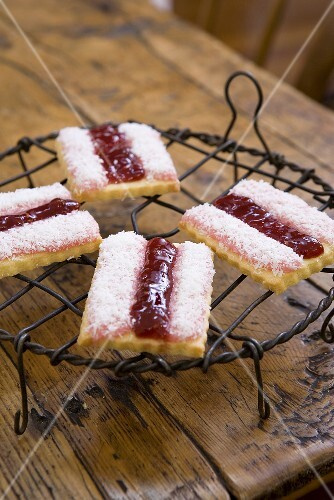 Raspberry and coconut biscuits
